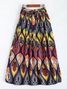 Retro Print Bowknot Maxi Skirt