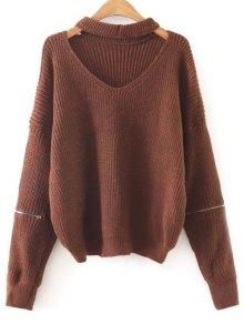 Zipped Oversized Choker Neck Sweater - Dark Auburn