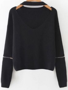 Zipped Oversized Choker Neck Sweater - Black