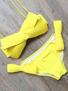 Bowknot Halter Bikini Set - Yellow