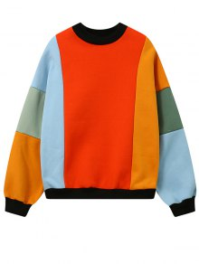 Fleece Color Block Sweatshirt - Jacinth