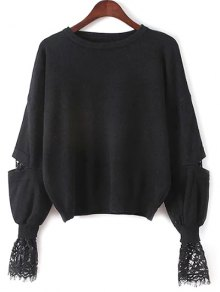 Lantern Sleeve Lace Spliced Sweater