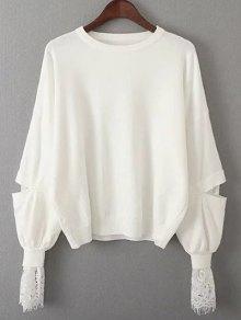 Lantern Sleeve Lace Spliced Sweater