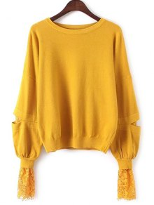 Lantern Sleeve Lace Spliced Sweater - Yellow