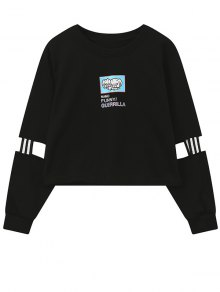 Print Patched Spliced Sleeve Graphic Sweatshirt