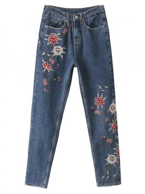 Bordado floral relajó los pantalones vaqueros - Azul L