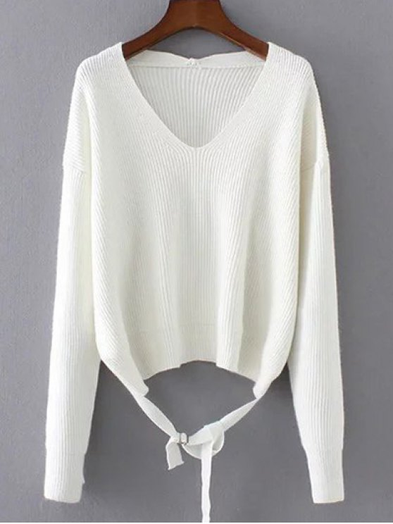 Loose String Sweater - WHITE ONE SIZE Mobile