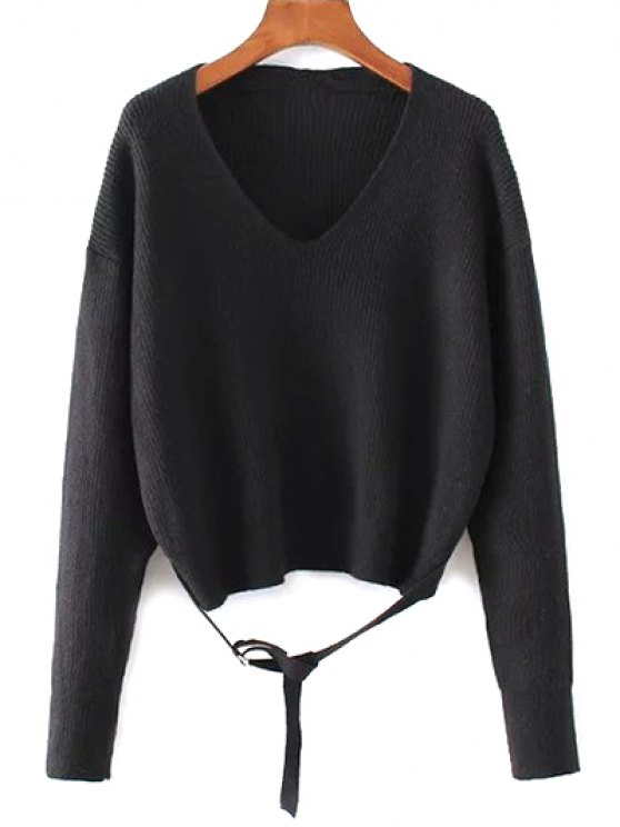Loose String Sweater - BLACK ONE SIZE Mobile