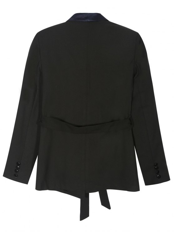 Pajama Style Belted Blazer - BLACK S Mobile