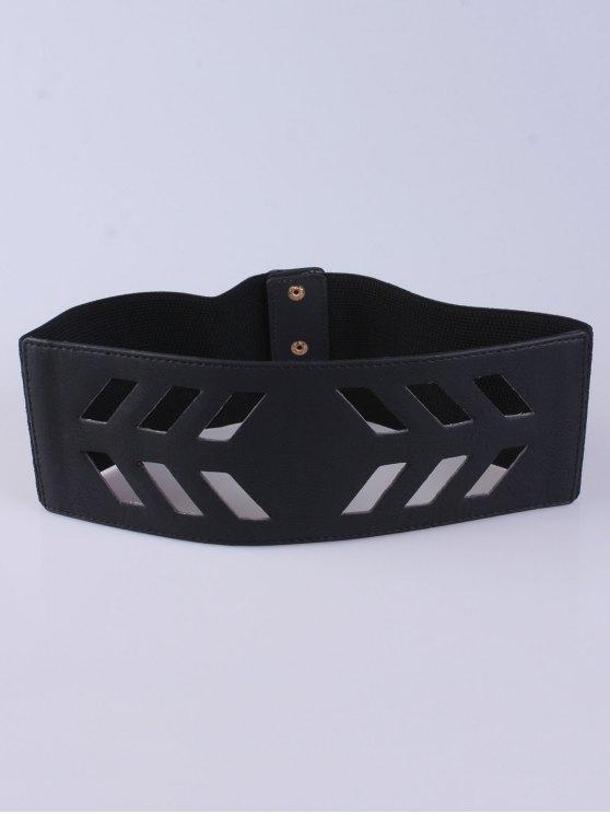 shops Cut Out Geometry Wide Stretch Belt - BLACK
