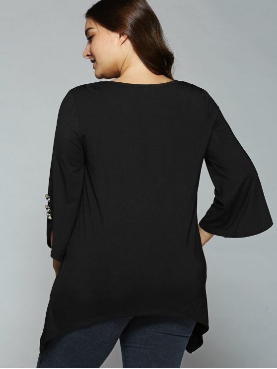 Button Decorated Sleeves Asymmetrical Blouse - BLACK 5XL Mobile