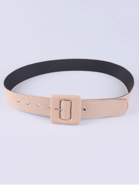fancy Pin Buckle Wide Cloth Belt - APRICOT