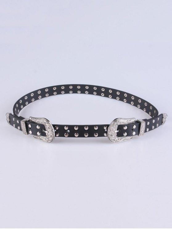 fashion Double Pin Buckles Rivet Belt - BLACK