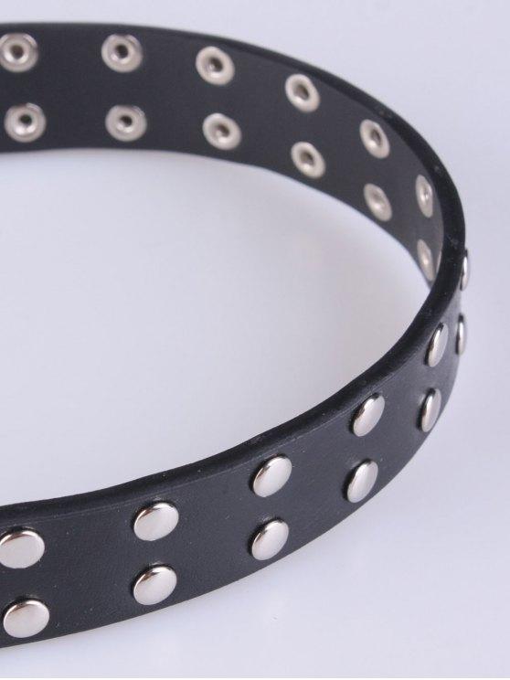 Double Pin Buckles Rivet Belt - BLACK  Mobile