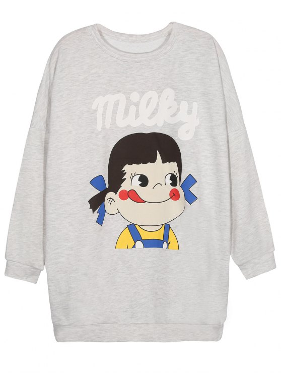 Short Sleeve Graphic Sweatshirt - GRAY M Mobile