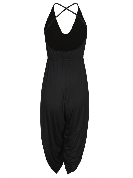 Strappy Back Side Slit Jumpsuit - BLACK S Mobile