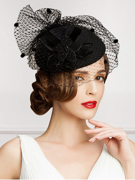 buy Polka Dot Veil Velvet Flower Pillbox Hat - BLACK