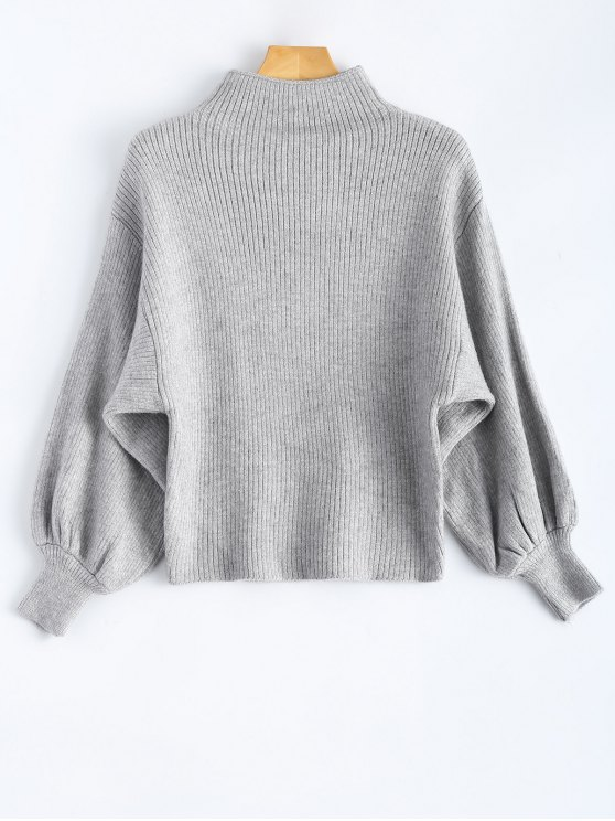 affordable Ribbed Puff Sleeve Mock Neck Sweater - LIGHT GRAY ONE SIZE