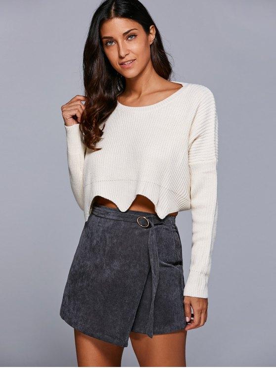 A Line Corduroy Skirt - GRAY M Mobile