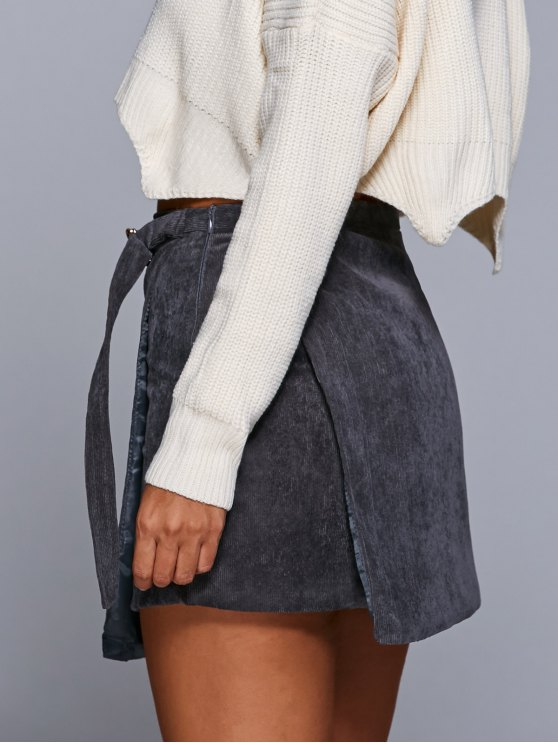 A Line Corduroy Skirt - GRAY S Mobile