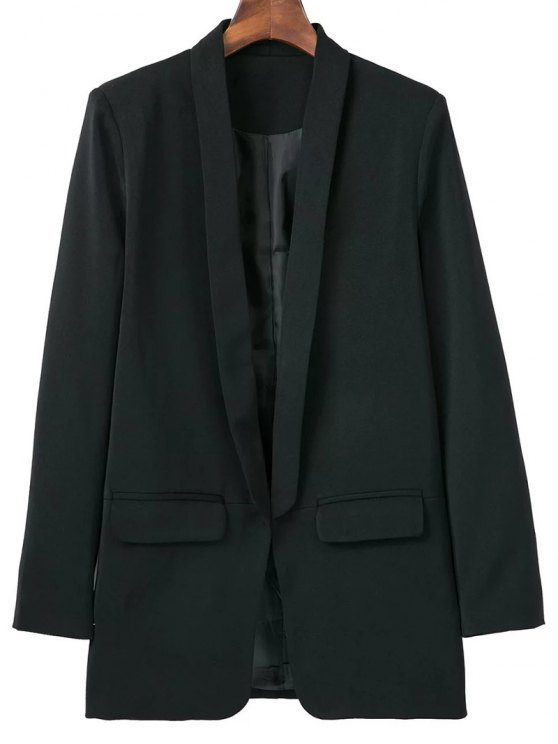 Lapel Blazer With Flap Pockets - BLACK S Mobile