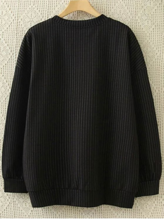 Plus Size Striped Sweatshirt and Pants - BLACK XL Mobile