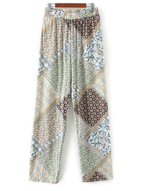 Pantalon palazzo imprimé de motifs bohémiens - Vert M