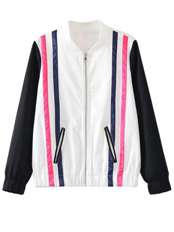 shop Striped Jacket - WHITE AND BLACK M