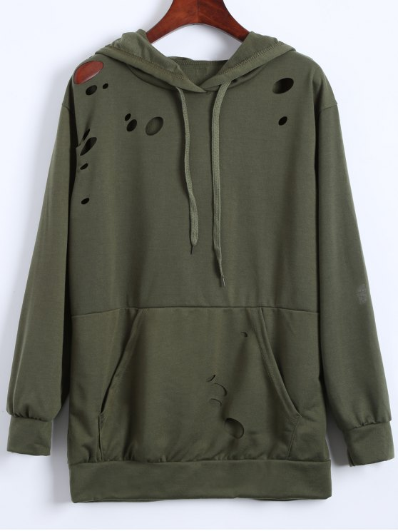 Ripped Hoodie - ARMY GREEN M Mobile