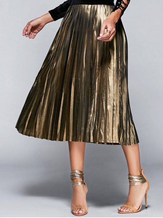 lady High Waisted Pleated Midi Skirt - CHAMPAGNE M