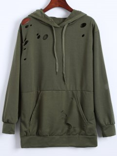 Ripped Hoodie - Army Green L