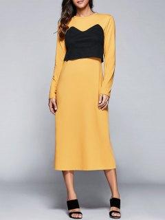 Long Sleeve Back Slit Popover Dress - Yellow