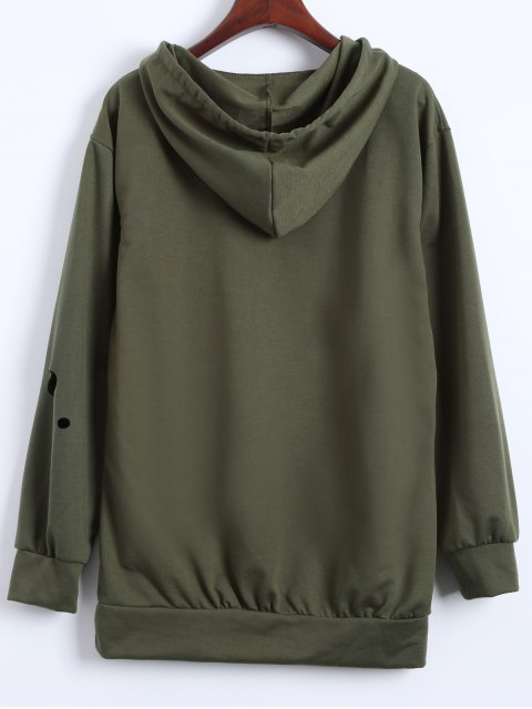 shops Ripped Hoodie - ARMY GREEN M Mobile