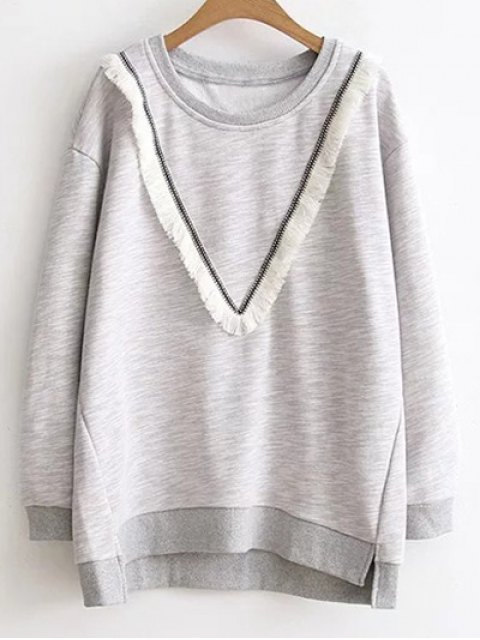 outfit Color Block Fringed Sweatshirt - GRAY 3XL Mobile