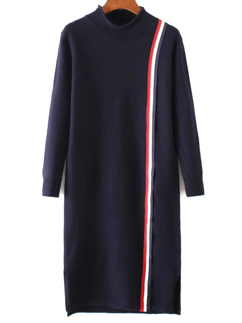 buy Colorful Stripe Sweater Dress - PURPLISH BLUE ONE SIZE Mobile
