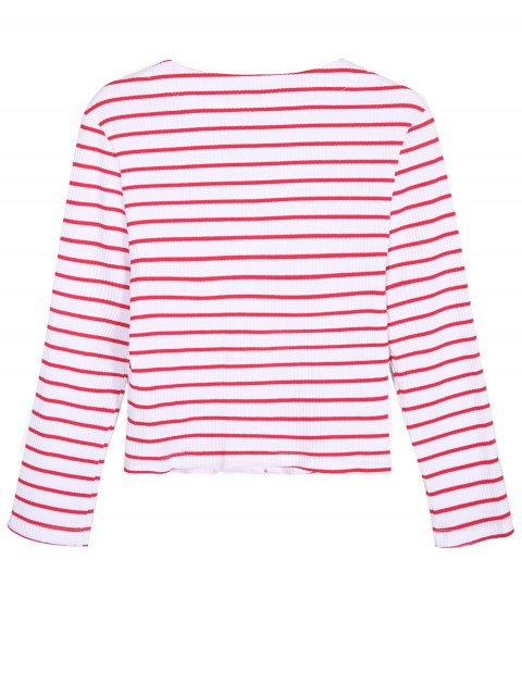 shops Ribbed Stripe Cropped Cardigan - RED WITH WHITE L Mobile