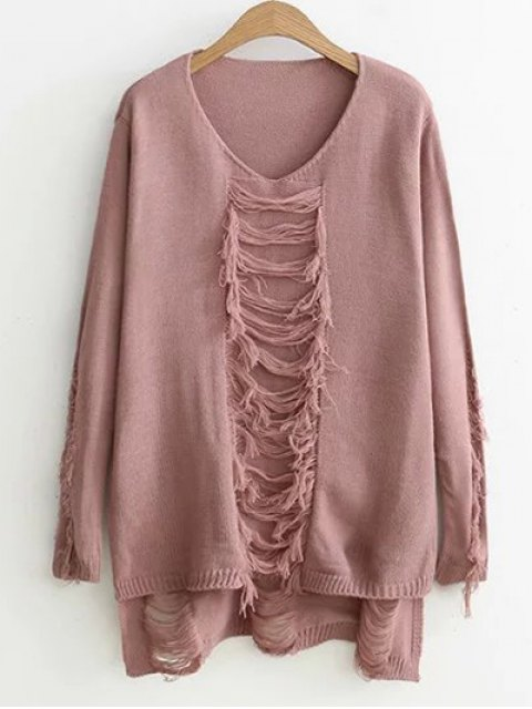 best Ripped High-Low Sweater - PINK ONE SIZE Mobile