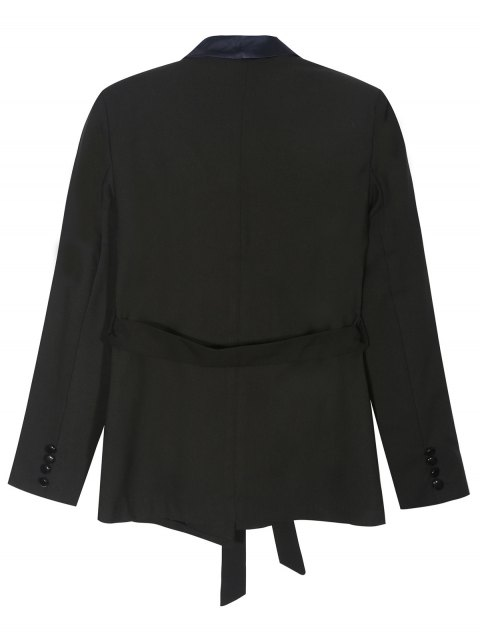 best Pajama Style Belted Blazer - BLACK S Mobile