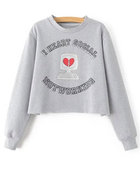 womens Loose Cropped Sweatshirt - GRAY S Mobile