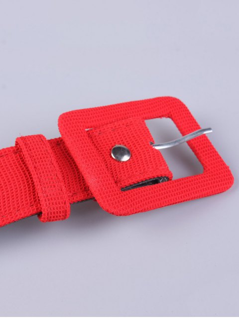 trendy Rectangle Pin Buckle Wide Cloth Belt - RED  Mobile