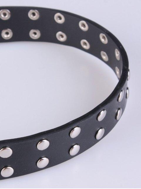 fashion Double Pin Buckles Rivet Belt - BLACK  Mobile