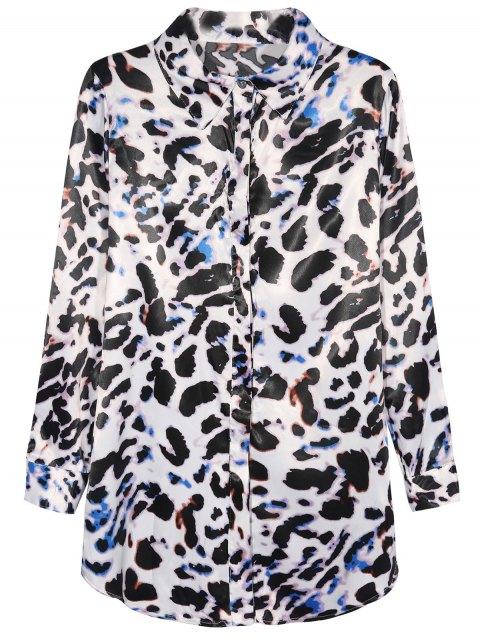 sale Leopard Print Chiffon Shirt - LEOPARD M Mobile