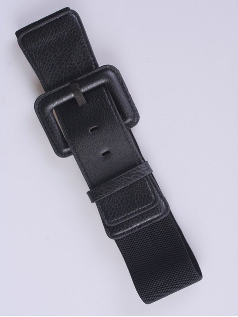 buy PU Pin Buckle Stretch Belt - BLACK  Mobile