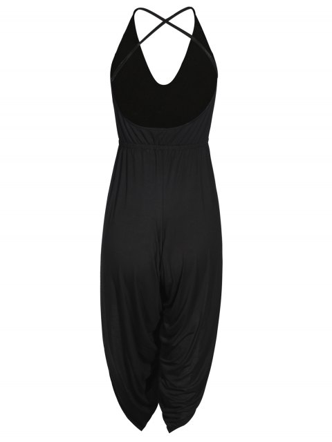 shop Strappy Back Side Slit Jumpsuit - BLACK S Mobile