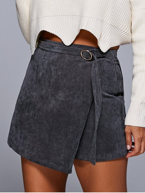 sale A Line Corduroy Skirt - GRAY M Mobile