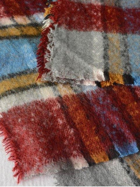 hot Frayed Edge Tartan Shawl Wrap Scarf - WINE RED  Mobile