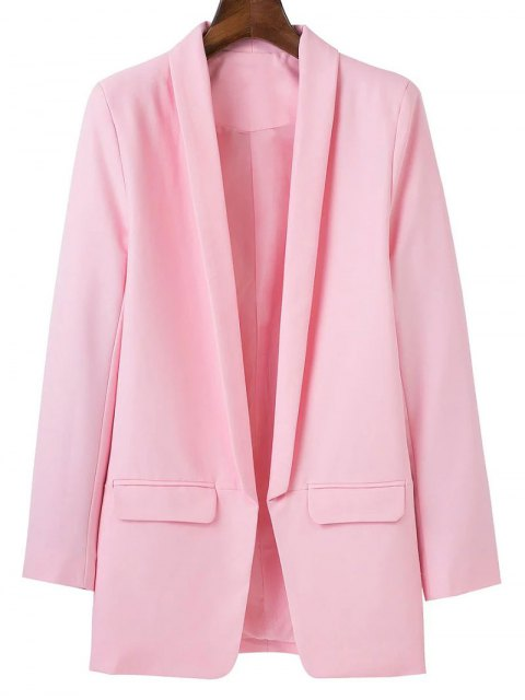 ladies Lapel Blazer With Flap Pockets - PINK L Mobile