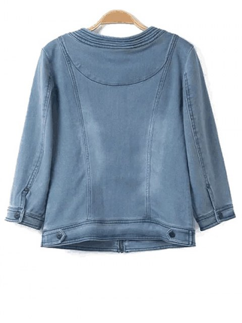 online Round Neck Denim Jacket - LIGHT BLUE S Mobile