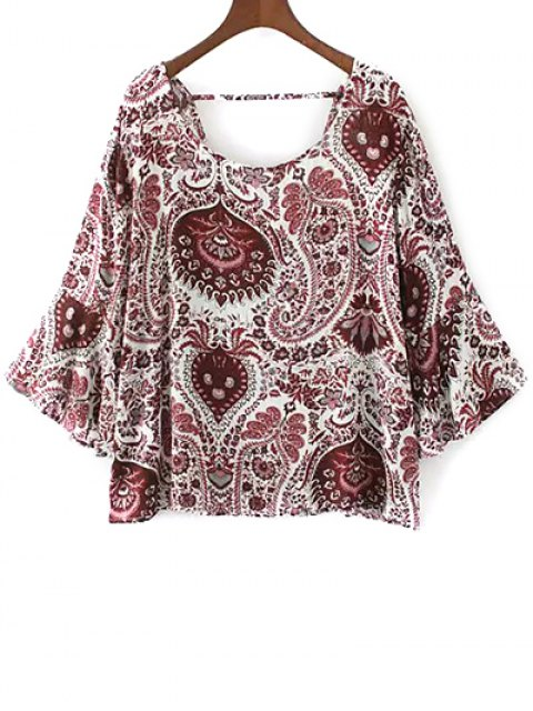 women Paisley Print Frilly Top - RED S Mobile
