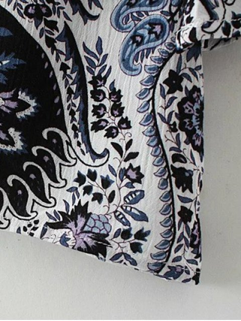 ladies Paisley Print Frilly Top - BLUE M Mobile